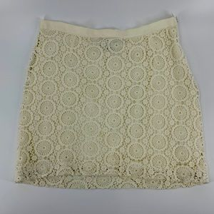 Banana Republic Cream Lace Crochet Mini Skirt